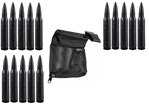 Magpul 215 Black 5.56 Pack Of 20 Dummy Ammo + Ultimate Arms Gear Tactical Deluxe Mesh Ar15 Ar-15 .223 5.56 Rifle Brass Shell Bullet Catcher Bag