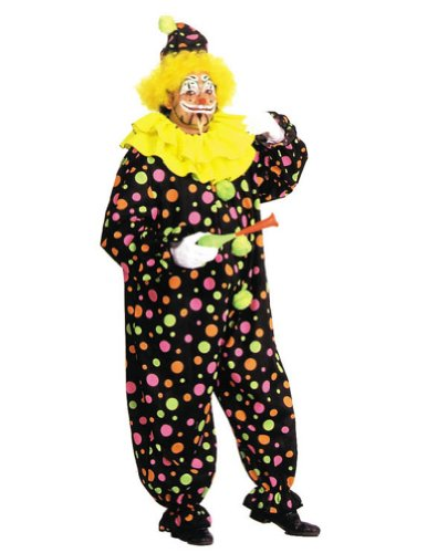Neon Dotted Clown Full Sz Adult Mens Costume