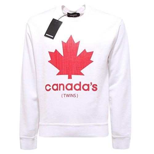 2483Q felpa DSQUARED D2 bianco maglia uomo sweatshirt men [M]