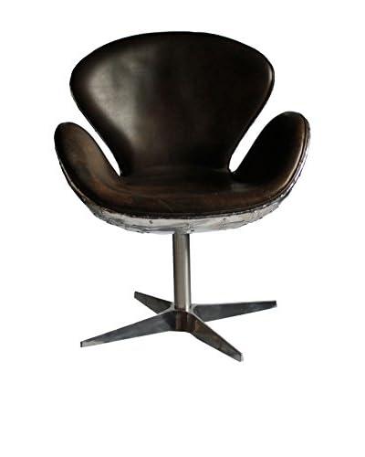 Melange Home Crawley Top-Grain Leather Armchair, Light Java