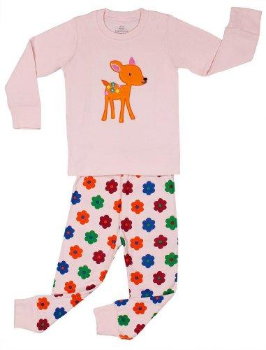"""Elowel Girls Pink 'Bambi"""" 2 Piece Pajama Set 100% Cotton - 6 Years front-1072286"""