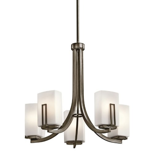 B003F1F3YY Kichler Lighting 42426SWZ Leeds 5-Light Chandelier, Shadow Bronze with Satin-Etched Cased Opal Glass