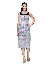 Bumpkin Womens Georgette Dress (B1005_A_White_38 _White And Blue _38)