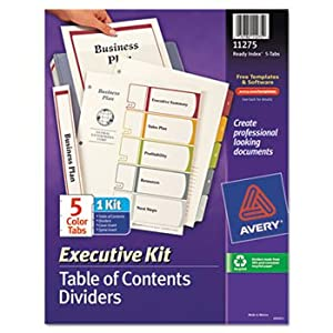 6 Pack Ready Index Contents Dividers, 5-Tab, 1-5, Letter, Multicolor, Set of 5 by AVERY-DENNISON (Catalog Category: Binders & Binding Supplies / Indexes / Printer/Copier)