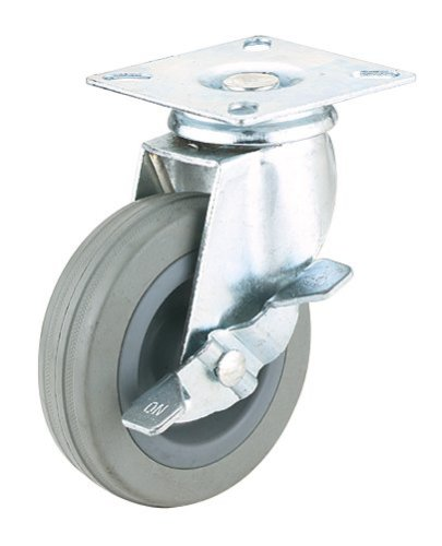 Steelex D2595 3-Inch 150-Pound Swivel Lock Rubber Plate Caster GrayB0000DD1E3