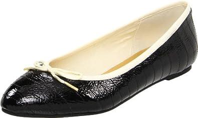 Ted Baker Women's Iveey Ballerina Flat,Black/Cream,5 M US