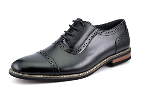 Bruno HOMME MODA ITALY PRINCE-5 Men's Modern Oxford Dress Shoes Cap Toe Lace up Oxfords