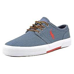 Polo Ralph Lauren Men\'s Faxon Low Ripstop Sneaker,Navy/Red,8.5 D US