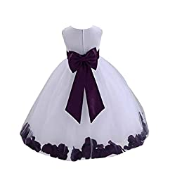 Wedding Pageant Flower Petals Girl White Dress with Bow Tie Sash 302a 6