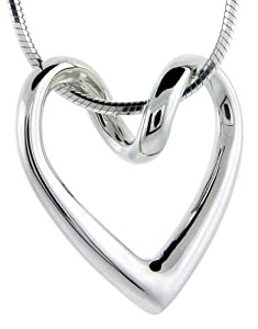 Sterling Silver Floating Heart Necklace Flawless Quality, 3/4 x 3/4 inch wide