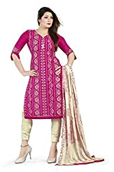 Bhagwati Women's Chanderi Unstitched Dress Material (Sultan1007_Pink_Freesize)