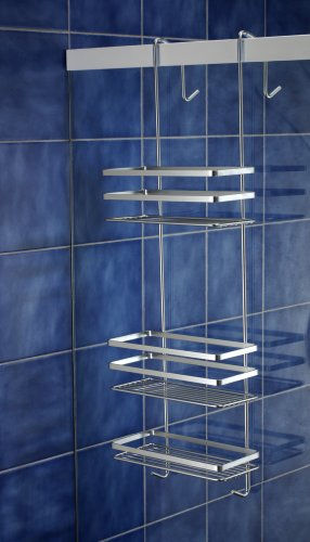 Satina chrome hanging shower cubicle tidy swedish made for Shower cubicle shelves