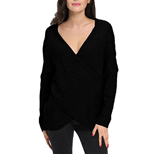 Shinieny Women's Criss Cross Off Shoulder V-neck Wrap Knitted Pullover Sweater