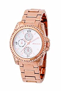 Women's Rose Gold Tone Round Case featuring Crystals on Case & White Multifunction Dial.