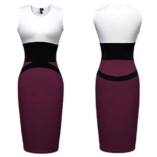 Miusol Celebrity Midi Contrast Bodycon Pencil Evening Dress, Ship From Us (XX-Large/US Size 16/18, Purple)