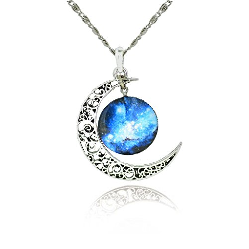 Jiayiqi Women's Charming Blue Star Crescent Moon Galactic Universe Cabochon Pendant Necklace