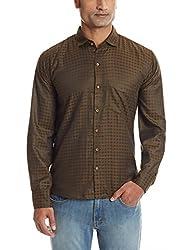 Dennison Men's Casual Shirt (SS-16-424_42_Brown)