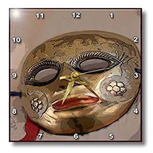 dpp_52061_1 Jos Fauxtographee Realistic - A Metal Masquerade Face Mask Hanging on a Wall Shot From Below and Posturized With Red Ribbon - Wall Clocks - 10x10 Wall Clock