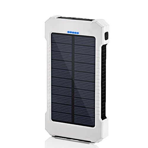 SOMAN 10000mAh大容量ソーラーパネル モバイルバッテリー 防水・防塵・耐衝撃 アウトドア 災害、防災向け LEDライト搭載 (ホワイト+ブラック)