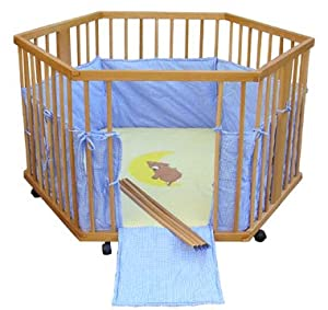 Wooden playpen hexagonal height adjustable teddy-bear from Serina