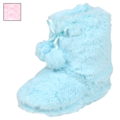 Kids Soft Furry Bootie Slippers With Pom Poms New