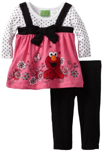 Sesame Street Baby-girls Infant 2 Piece Knit Dress and Pant, Pink, 24 Months