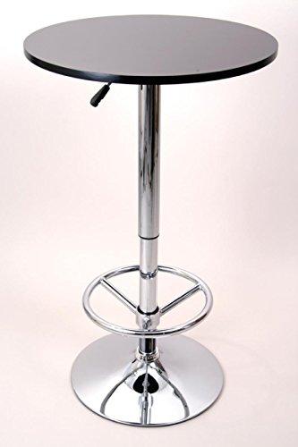 """Bistro-Tisch, schwarz, Fußstütze, runde Holzplatte, höhenverstellbar – """"Stuttgart"""""""