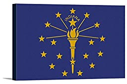 Indiana State Flag - Letterpress (36x24 Gallery Wrapped Stretched Canvas)