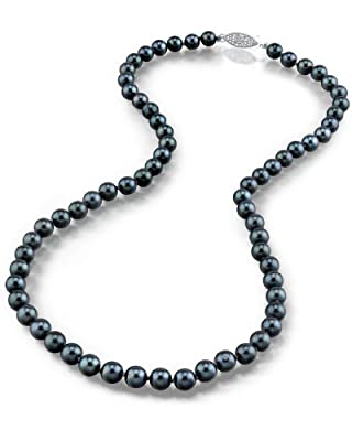 14K Gold Japanese Akoya Black Cultured Pearl Necklace - AA+ Quality, 18 Inch Princess Length
