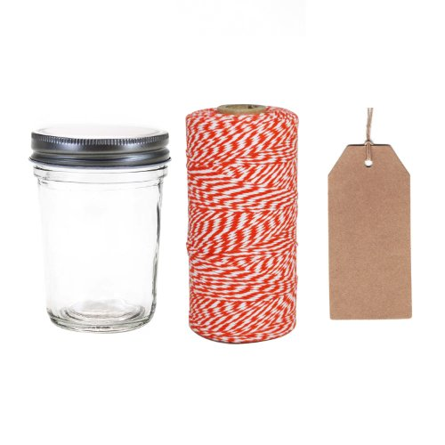 Dress My Cupcake 12-Pack Favor Kit, Includes Vintage Glass Half Pint 8-Ounce Mason Jars And Twine/Kraft Gift Tag, Citrus Orange front-504386