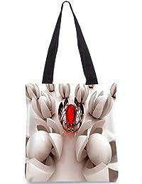 Snoogg Crystal Red Circle Digitally Printed Utility Tote Bag Handbag Made Of Poly Canvas