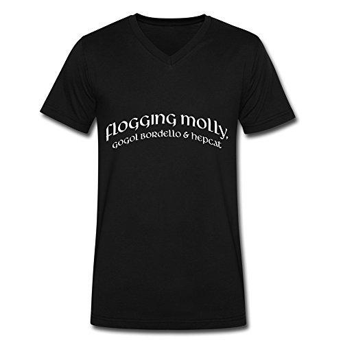 Black V Neck T Shirt For Uomo Flogging Molly Gogol Bordello & Hepcat Logo
