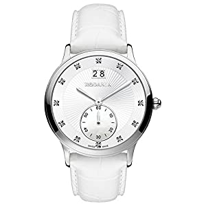 RODANIA 25028-20 38mm Stainless Steel Case White Calfskin Mineral Women's Watch