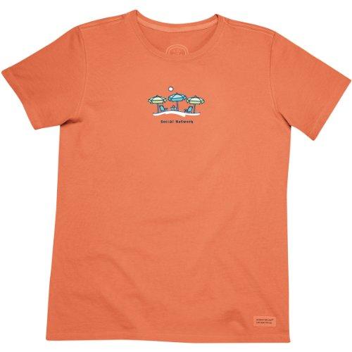 Life is good Women's Crusher Social Network T-Shirt, Vibrant Orange, X-Large