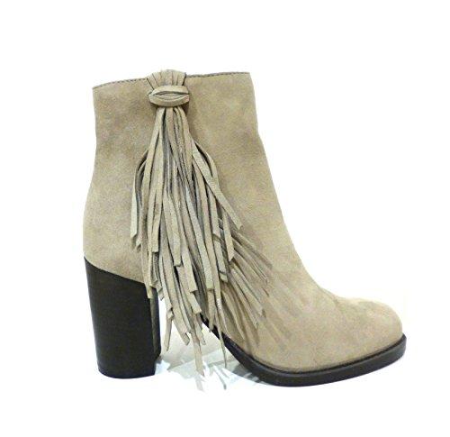 Bruno Premi I3903G stivaletto tronchetto alla caviglia con tacco e frangia in camoscio grigio ghiaccio n° 37