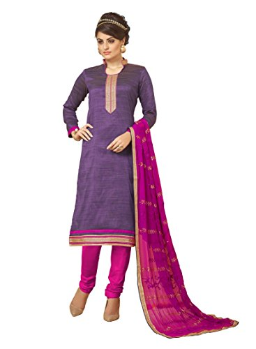 Subhash Sarees Daily Wear Purple Color Banarasi Silk Salwar Suit Dress Material