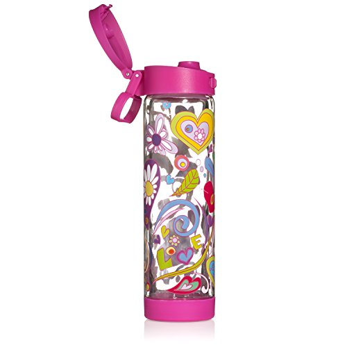Glasstic Glass Water Bottle - 16Oz - Double Walled - Pink Flip Cap - Love Design