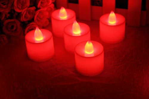 Zehui Set of 24 LED Flickering Candles Flameless Tea Light Battery Operated Look Like Real Flicker Candles Wedding Red Light