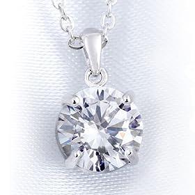 CZダイヤモンド 一粒ダイヤ 1.0カラット 1.0ct レディース シルバー925 プラチナ仕上げ CZダイヤ ペンダント ネックレス (swj383p-B)