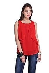 New Sierra women red regular lear front plits georgette top
