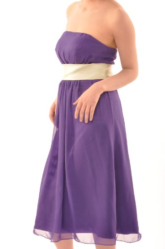 Adorona Tea Length A line Grape Purple Chiffon Bridesmaid Dress with Sashes/ Ribbons, Color Grape Purple,US Size(M) 8