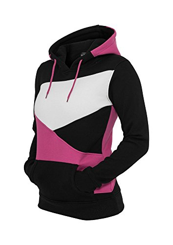 Urban Classics Ladies Zig Zag Hoody, Color:blk/fux/wh;Größe:XL