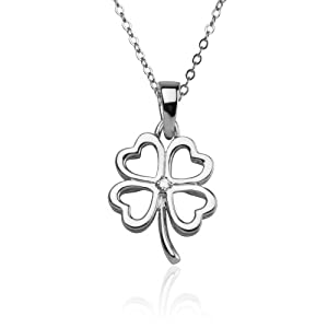 Sterling Silver Four Leaf Clover Heart Diamond Accent Pendant, 18""