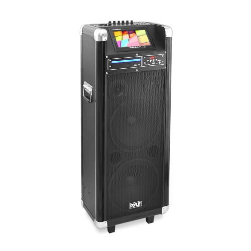 Pyle Pkrk212 Karaoke Vibe Bluetooth Multimedia Pa System, Dual 12-Inch Woofers, Dual 3-Inch Tweeters, 7-Inch Screen, Dvd Player