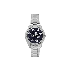 Men's or Boys' Design Paw Prints Stainless-Steel Analog Watch Photo Watch Sliver Metal Case