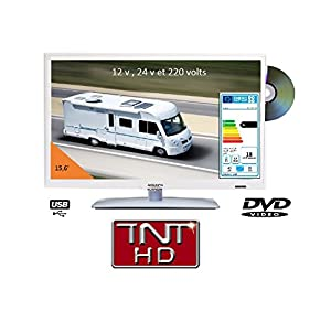 Televisión TV HD LED + DVD 39,6 cm blanca 220 V/12 V/24 V Camping Car