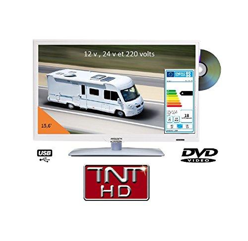 Télévision TV HD LED + DVD 39,6 CM BLANCHE 220v/12v/24v camping car