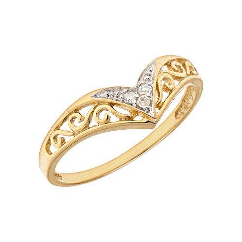 10K Yellow Gold Diamond Chevron Ring (Size 7)