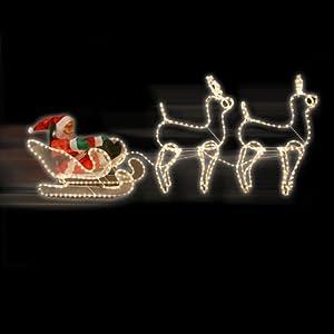 Rentierschlitten mit weihnachtsmann weihnachtsdeko beleuchtet k c - Cerf lumineux exterieur ...