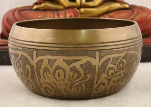 Heavy Tibetan 8 Symbols MEDITATION Peace SINGING BOWL / Leather Wrapped Mallet Great Sound